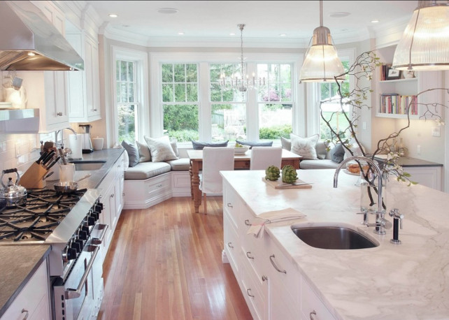 White Kitchen Countertop Ideas. Classic marble countertop for timeless white kitchen.